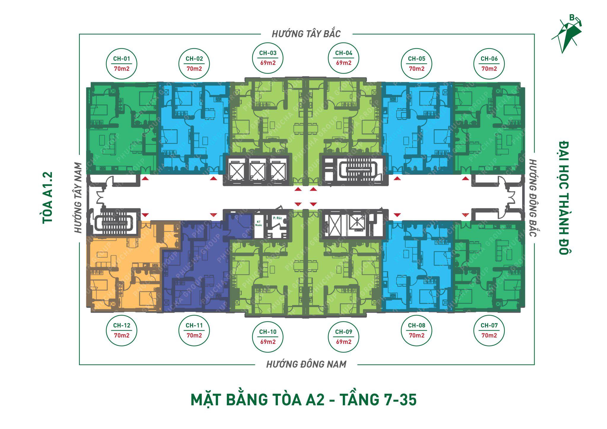 Mặt bằng căn hộ Toà A2 Từ 7 đến tầng 35