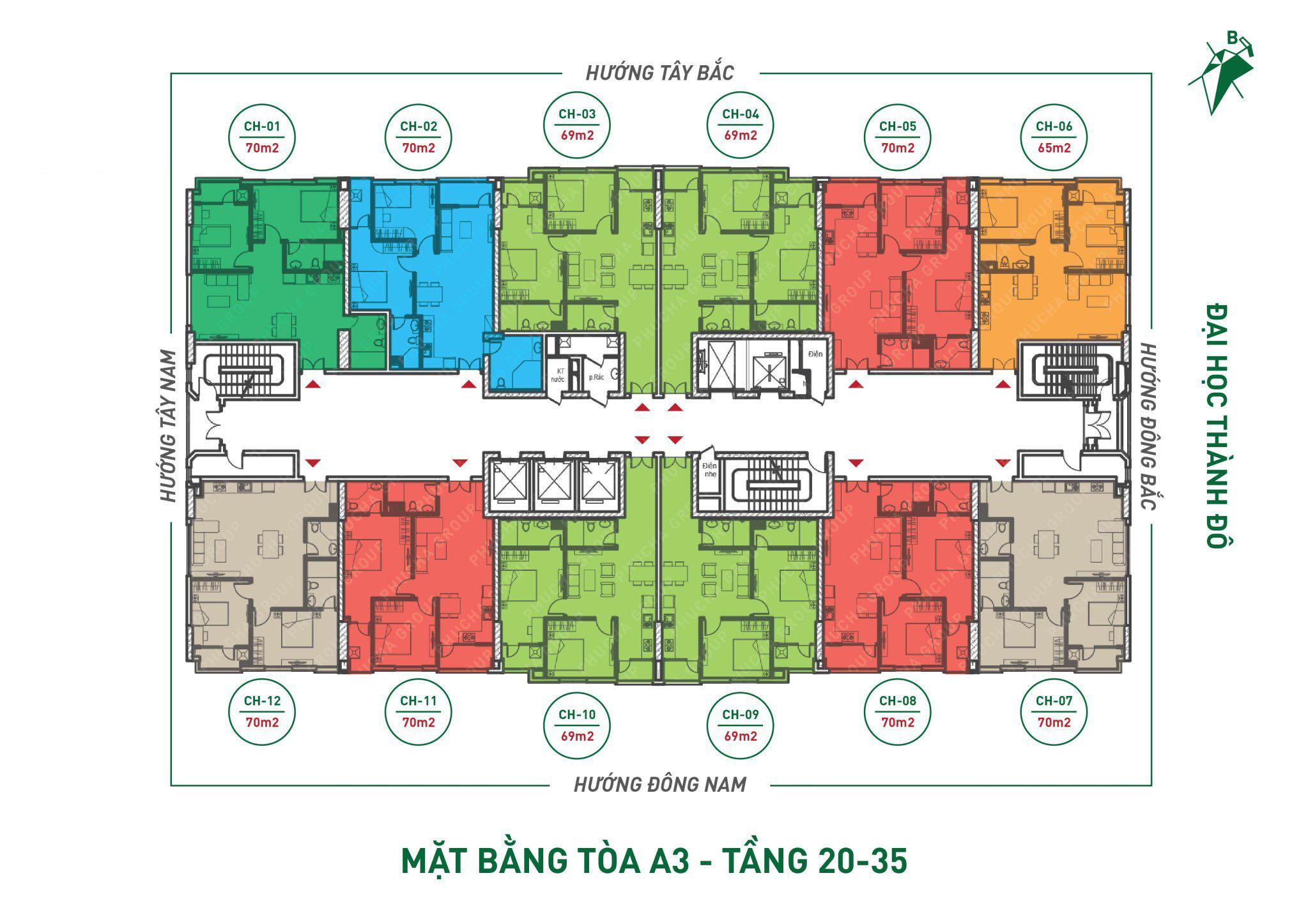 Mặt bằng A3 - Tầng 20 - Tầng 35 Dự án THT New City